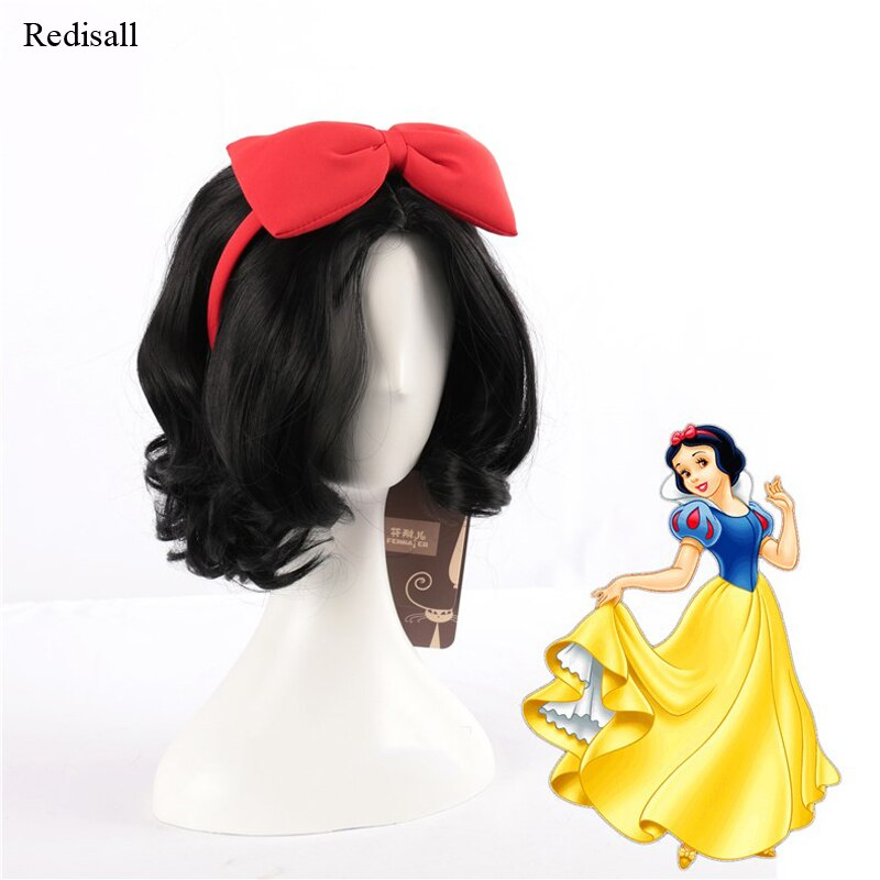 Neve branca cosplay cabelo com grande bowknot hairpin halloween cosplay cabelo sintético imagens reais livre peruca boné princesa cosplay