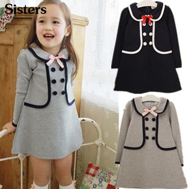 Venta al por menor 2018 nuevo vestido de verano para niñas, Camiseta de algodón de diseño largo botones de doble botonadura sub escuela navy 3-7Y