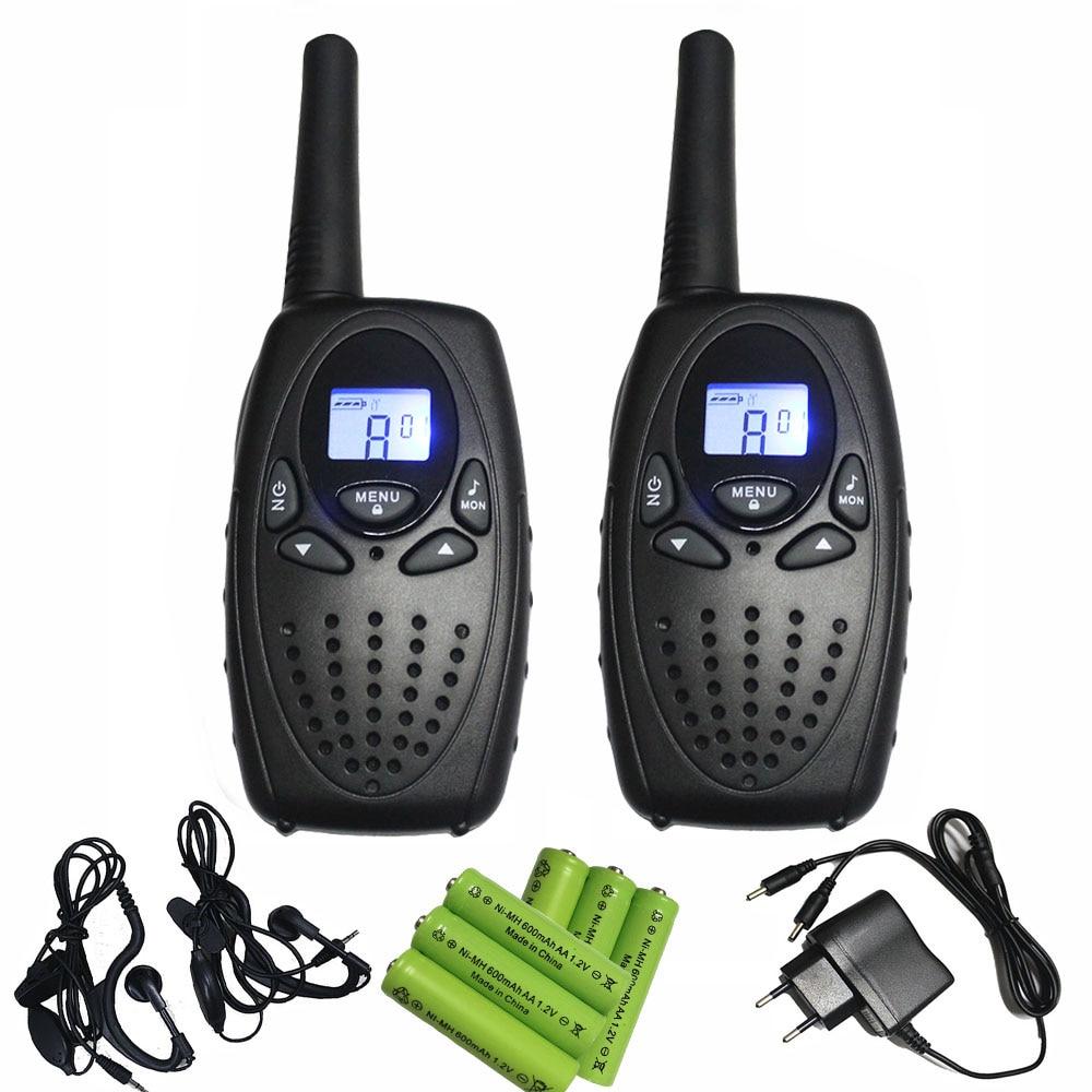 2pc black long range radio PMR 446 talkie walkies pair T628 cb UHF ham radios interphone 1W with 2-channel monitor VOX function