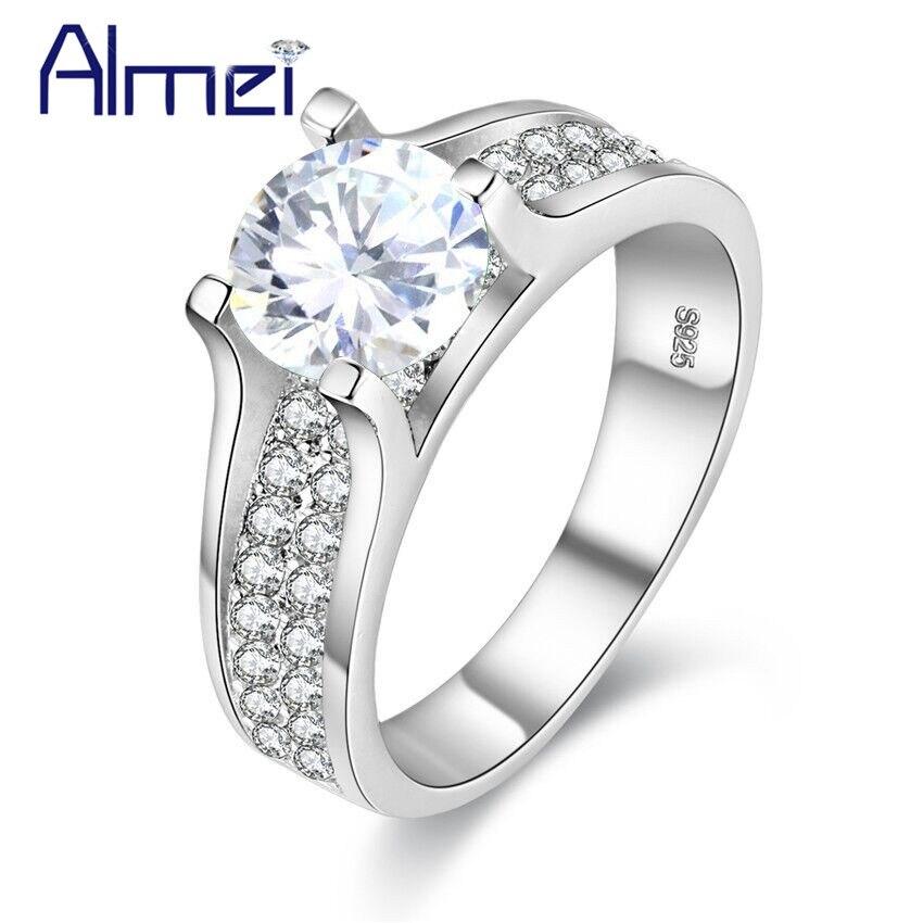 Almei, envío desde EE. UU., Anillos de diamantes de imitación de Color plateado para mujer, joyería, anillo de mujer con piedra blanca, Anillos de gran tamaño 10 Y006