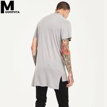Moomphya 2019 New Side Split Longline Hem Short Sleeve Men T Shirt Streetwear Hip Hop Tee Shirt Men Summer Tops Tee Plain Tshirt