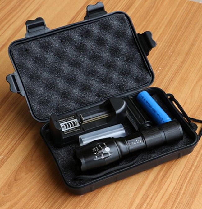 Linterna LED T6/L2/V6, 5 modos de iluminación, linterna LED con Zoom, linternas tácticas para exteriores, batería 18650, cargador y caja de regalo para Camping
