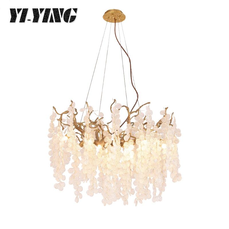 Yiying lighting Artist luxury ceiling chandelier lighting branch chandelier living room decoration villa Glass Chandelier