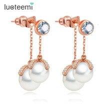 LUOTEEMI or Rose élégant élégant Zircon Micro pavé Double Imitation perle gland boucles doreilles femme parfait bijoux