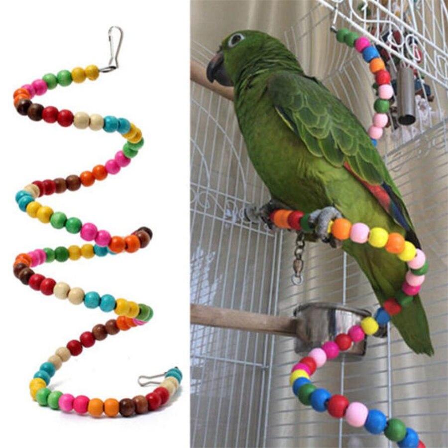 1PCS Bunte Haustiere Vögel Spielzeug Papagei Sittich Nymphensittich Scratcher Holz Klettern Cableway Vogel Hängenden Schaukel Spielzeug Papegaaien Speelgoed