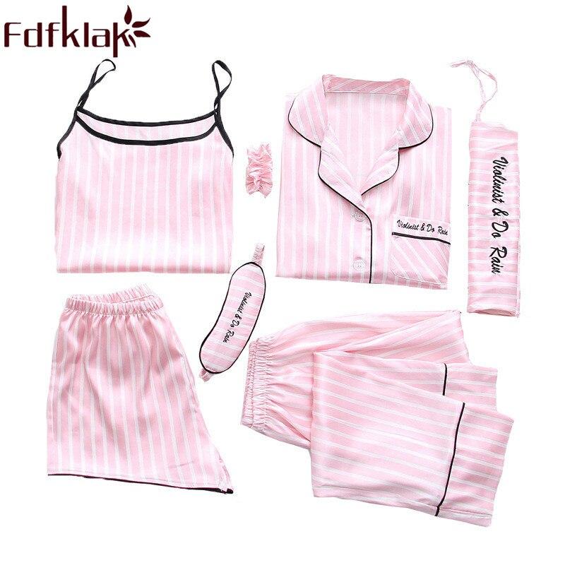 Fdfklak 2020 новый дизайн Дамская одежда для сна 7 шт пижамы розовые полосатые пижамы женские пижамы наборы Весна Лето пижамы Q1156