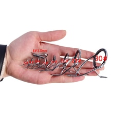 8 pièces/ensemble KW 6 #-30 # anneaux en acier inoxydable canne à pêche kw Guides conseils ligne Kit de réparation