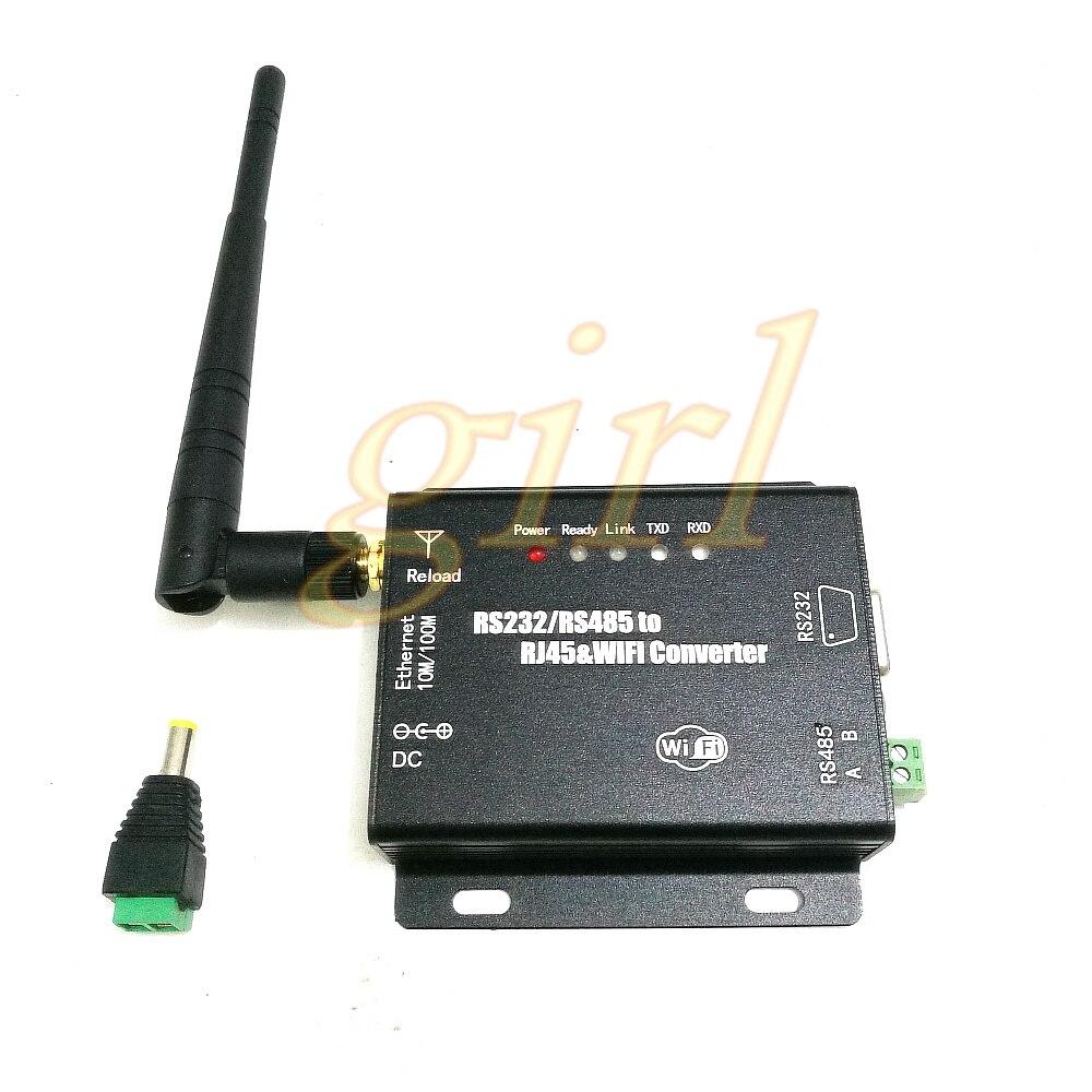 وحدة محول واي فاي مزدوجة القناة ، خادم تسلسلي/RS232/RS485 إلى واي فاي/إيثرنت/لاسلكي