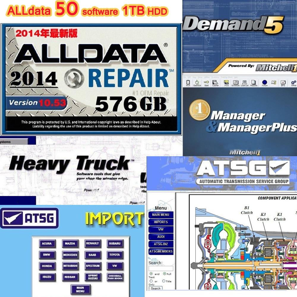 50 softwares em alldata 10.53 conjunto completo de dados de reparo automotivo & mitchell ondemand 5.8.2 caminhão pesado alldata 1 tb hdd todos os dados