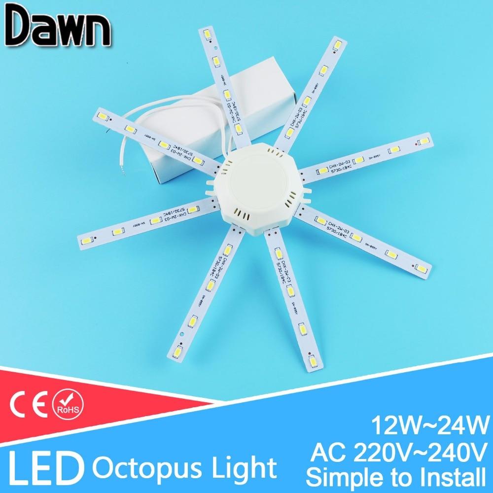 Led Ceiling Lamp 12W 16W 18W 20W 24W 220V PCB Board Modified Light Source Led Bulb Plate Octopus Tube Energy Saving Lamp Plafon