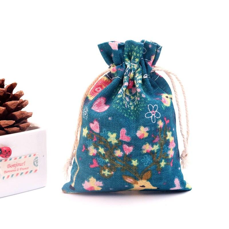 50pcs Colorful Patterns Lake Blue Cotton Bag 10x14cm Linen Gift Bag Wedding Favor Bracelet Muslin Jewelry Packaging Bags Pouch