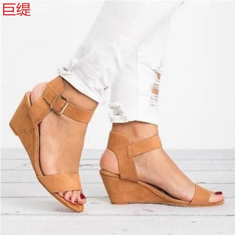 Sandalias de verano para mujer, sandalias de playa para mujer, sandalias de cuña, zapatos de mujer para fiesta de color sólido