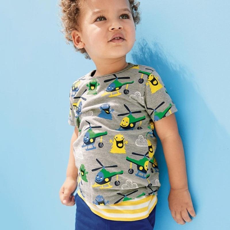 Pouco maven crianças roupas de verão 2018 meninos roupas de bebê de manga curta tee tops helicóptero impressão Algodão camisa da marca t 50968