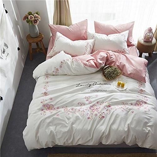 Winlife floral do vintage bordado jogo de cama 4 pçs meninas conjunto capa edredão folha plana e fronhas