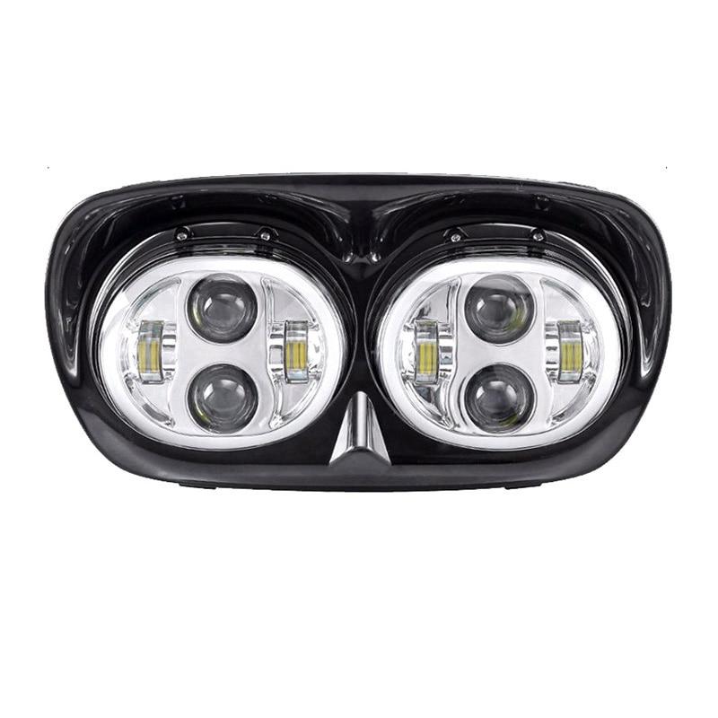 DRL Halo Chrome Dual Projector LED Headlight for Road Glide Ultra FLTRU Custom FLTRX CVO FLTRXSE2 FLTRXSE FLTRSE3 EFI FLTRI 2004