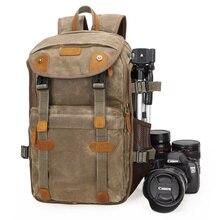 Batik Leinwand + Leder Wasserdichte Kamera Tasche Outdoor Fotografie DSLR/SLR Rucksack Camera Haben SLR Tasche für Nikon Canon Sony DSLR