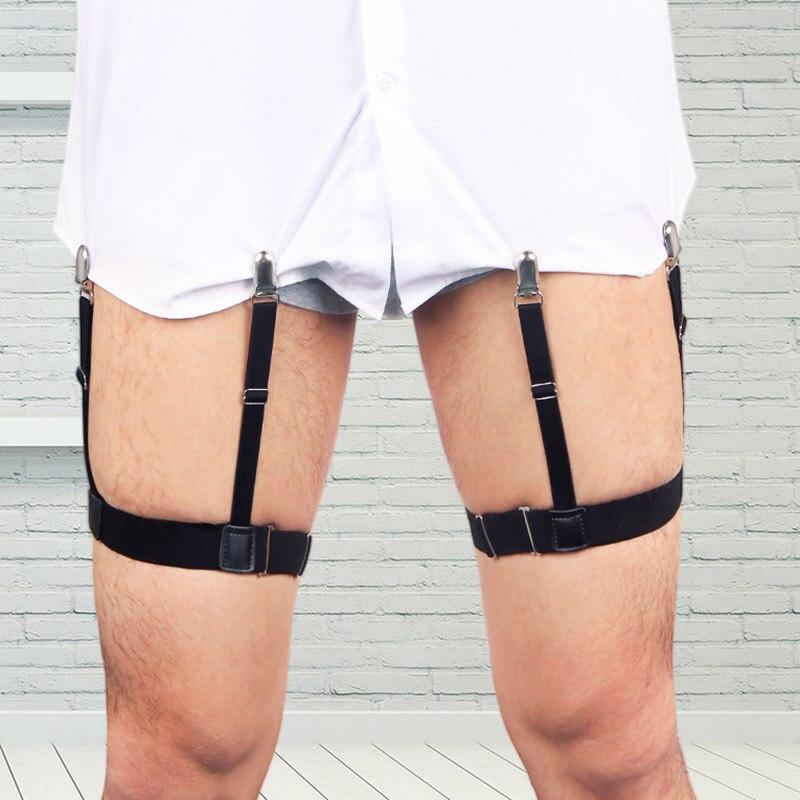 2 uds camisa de hombre se mantiene el cinturón con Clips de bloqueo de deslizamiento no-mantener la camisa en la pierna suspensor de muslo ligas Correa-MX8