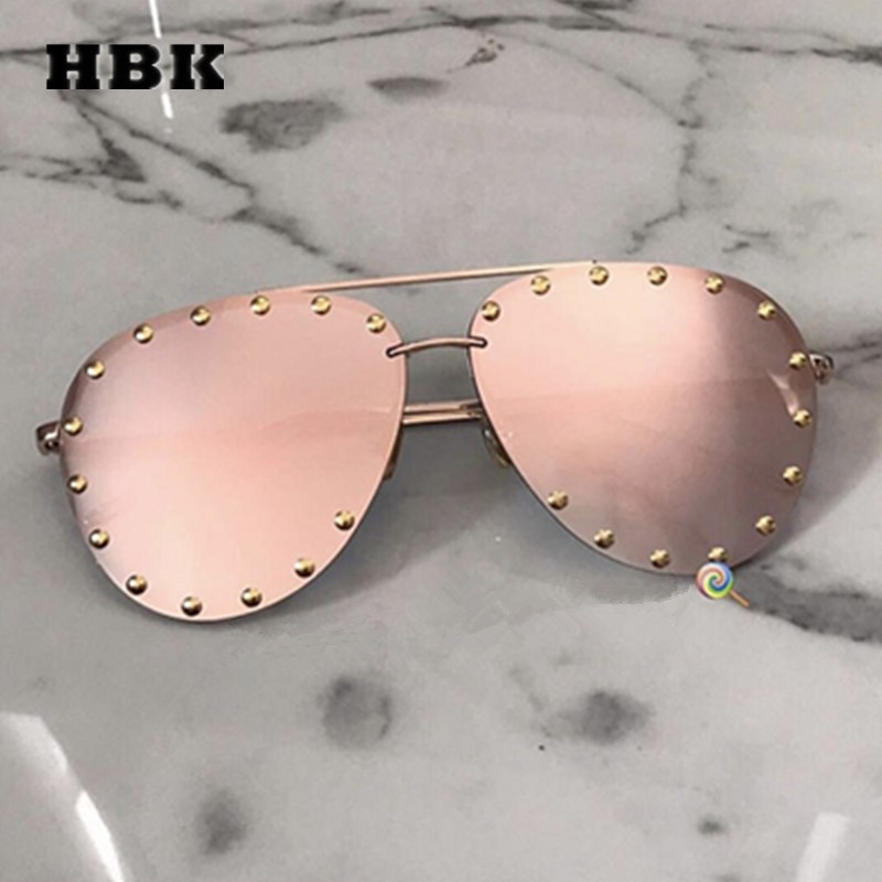 HBK ללא שפה פיילוט Modis משקפי שמש Oculos נשים גברים מותג מעצב יוקרה 2019 רטרו שמש משקפיים גווני פסטיבל מתנה ורוד UV400
