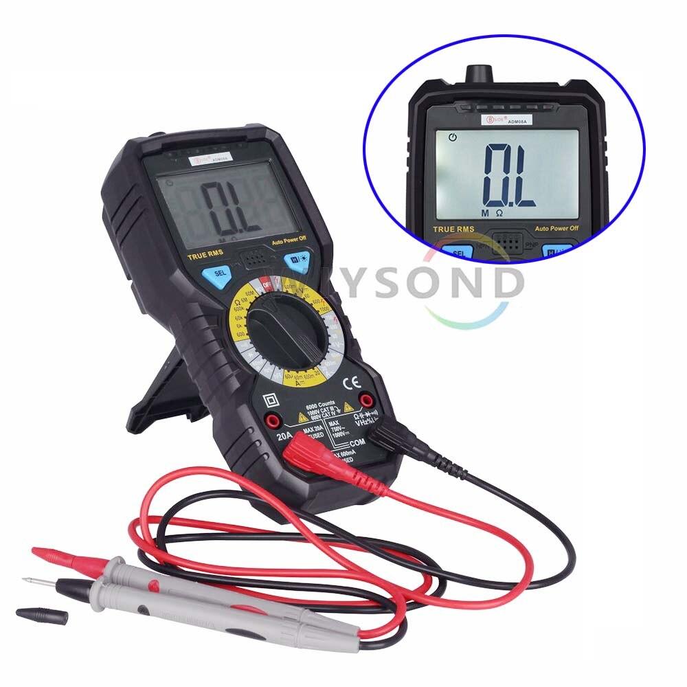 ADM08A 6000 cuentas, verdadero RMS NCV multímetro digital DMM DCV ACV R C F retroiluminación