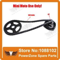 Mini moto 47cc 49cc drive system 108 ligações laços de corrente com caixa de engrenagens e roda dentada traseira ajuste mini moto bolso bicicleta frete grátis