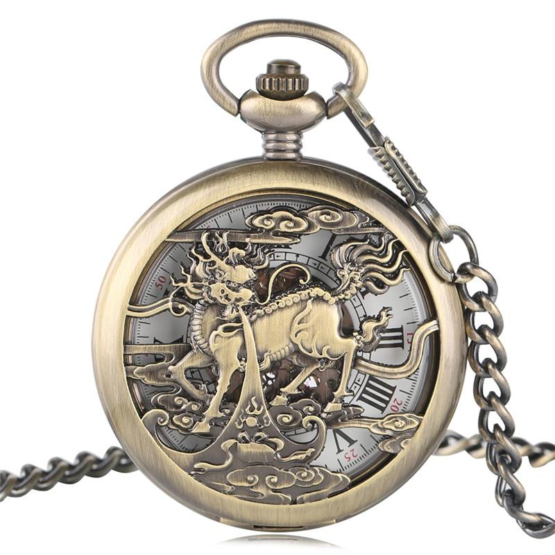 Kylin Dragão Chinês do vintage Design Impressionante Auto Mecânica Relógios de Bolso Pingente Assistir Enfermeira Presentes para Homens Mulheres Ancião Sênior