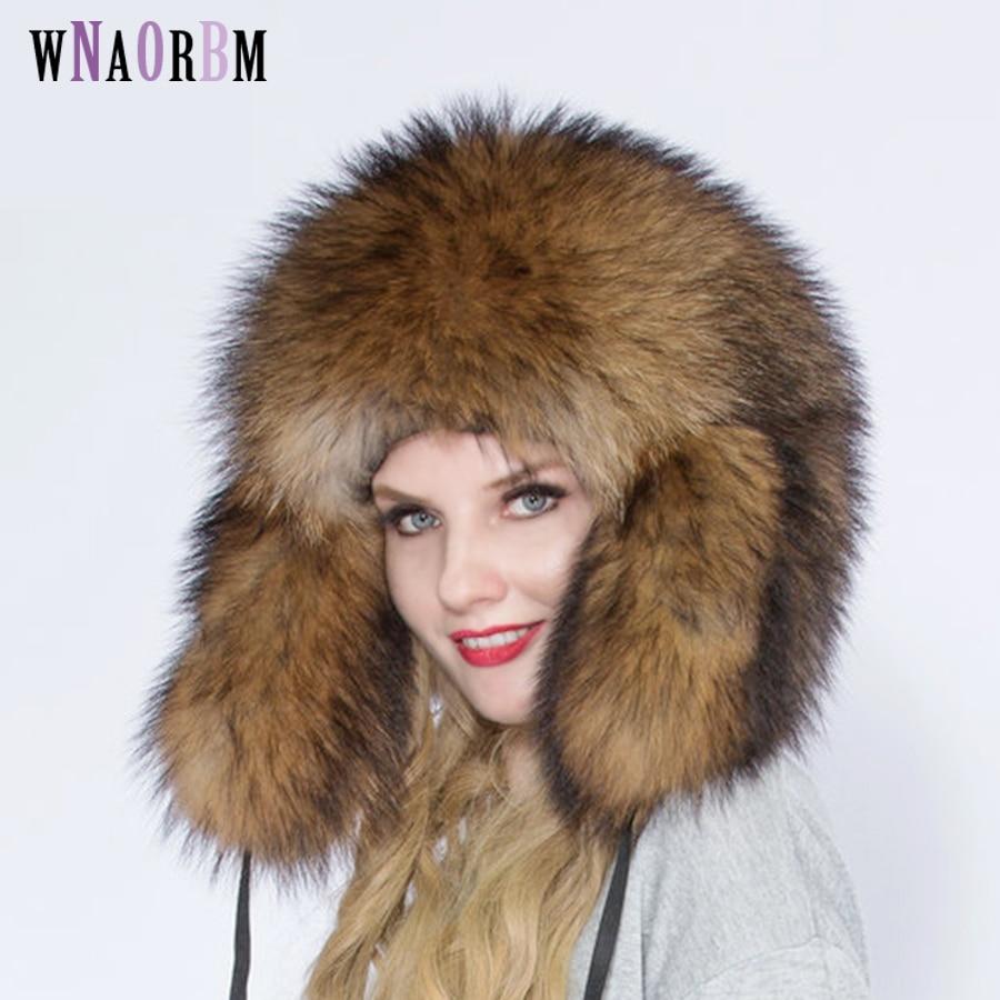 Russian pilot winter hat overlord hat  full raccoon fur men and women hat 100% natural outdoor hat super warm
