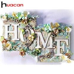 Huacan 5d pintura diamante casa quadrado completo/redondo flor diamante bordado paisagem decoração da parede arte diamante