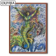 OUYIJIA sirena belleza 5D DIY diamante pintura bordado diamante Rhinestone mosaico Spirit Home decoración de punto de cruz Stitch