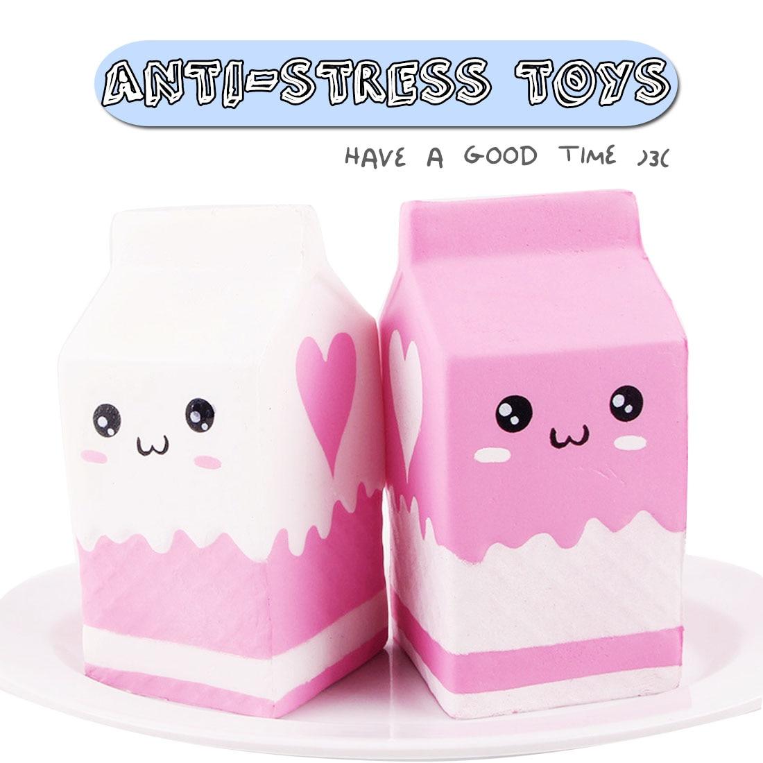 Bolsa de leche Kawaii blando y estrujable, juguete, caja de leche de crecimiento lento, regalo divertido para chico, para adultos, alivia la ansiedad y el estrés, juguetes para apretar