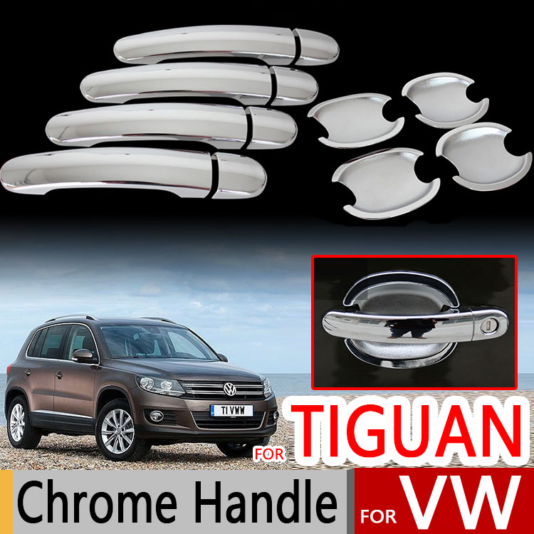 Para VW Tiguan cubiertas de manijas de puerta cromadas 2007-2016 Volkswagen accesorios adhesivos coche estilo MK1 2009 2010 2012 2014 2015