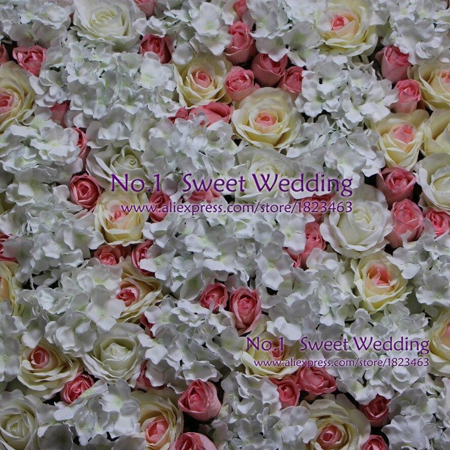 Envío Gratis decoración de boda Rosa artificial cored Hortensia de Rosa muchos colores mezcla Pared de flores para telón de fondo 10 unids/lote