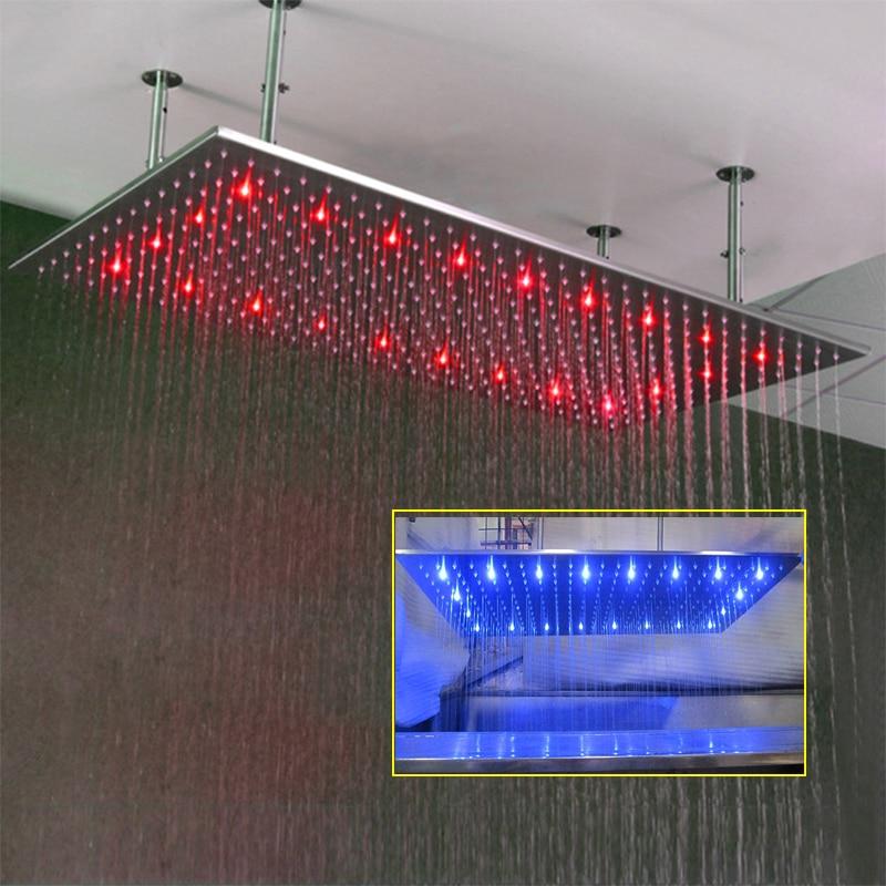 مستطيل douchekop 800*600 مللي متر LED الأمطار دش الإفراط رئيس كبير رؤوس الدش سقف شنت اكسسوارات الحمام توفير المياه