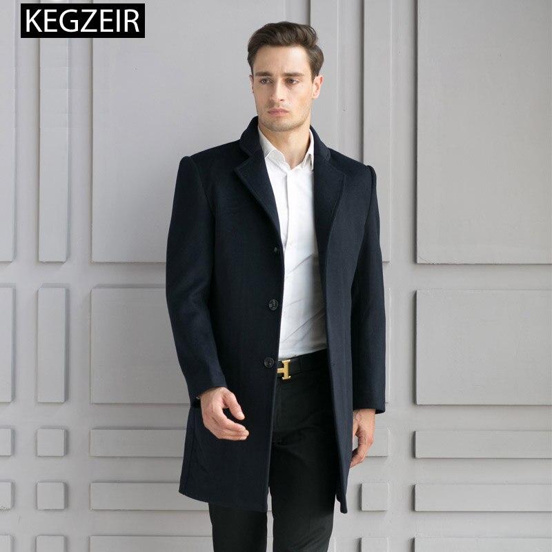 KEGZEIR 2019 chaqueta De invierno De los hombres Abrigo De corte Slim...