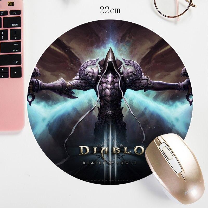 22X22CM Diablo круглый коврик для мыши акварель B3w печать на заказ коврик для мыши маленький размер коврик для мыши миска нескользящий коврик для игры/офиса