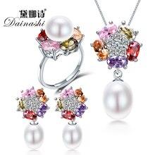 Dainashi mode femmes 925 en argent sterling perles deau douce ensembles de bijoux avec collier de perles perle boucles doreilles perle anneaux