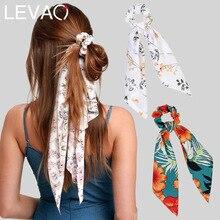 Levao flor bufanda de arco de pelo Pelo flor Diadema con hueco para cola para las mujeres cabello accesorios Bowknot goma elástica para el pelo diademas