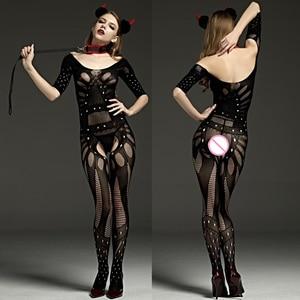 Preto sexy bodystockings mulheres sexy quente erótico crotchless collants malha transparente nightwear roupa interior fishnet lingerie