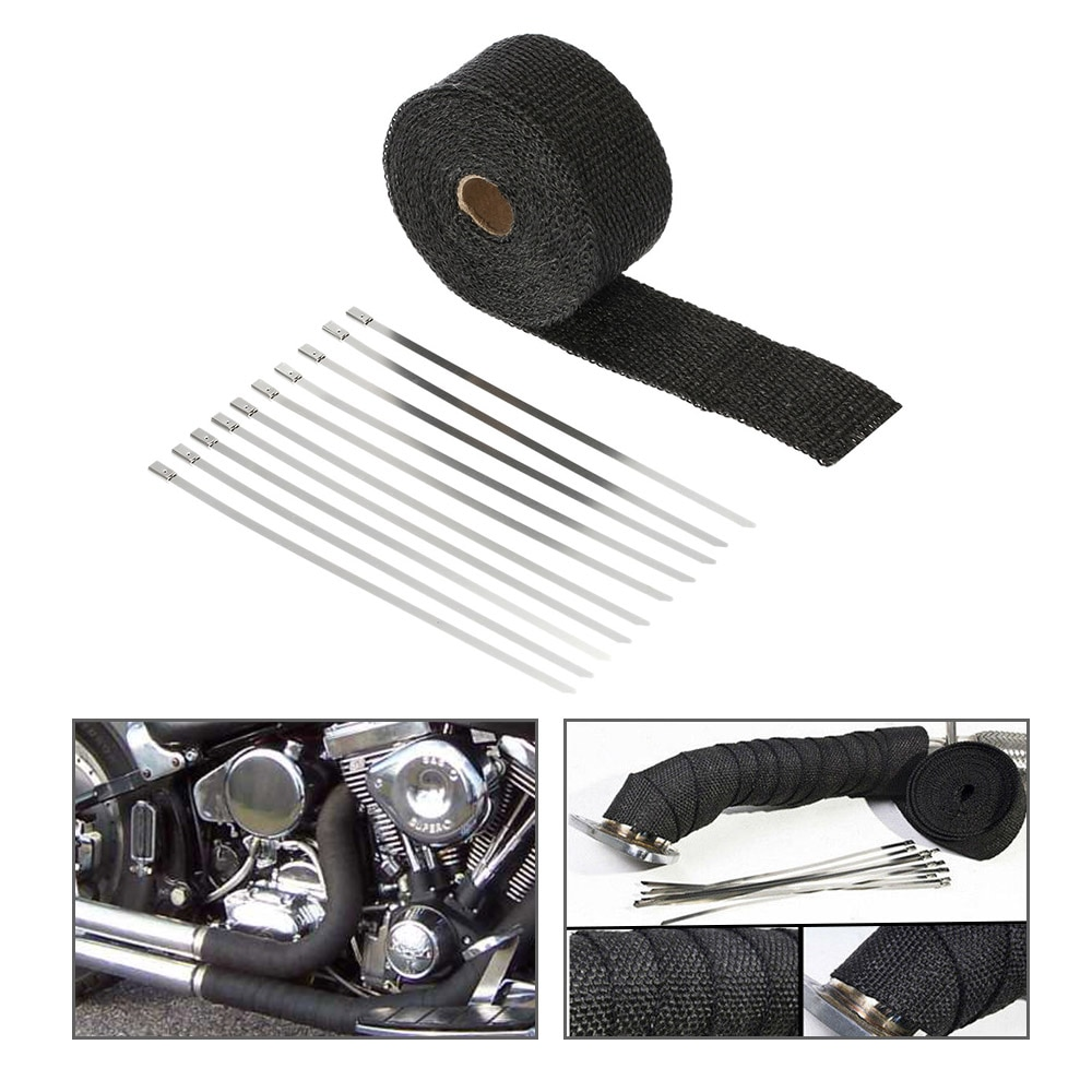 Envoltorio para tubo de escape KKmoon, encabezado de vendaje, envoltura de tubo de bajada resistente al calor, 10 corbatas de acero inoxidable, 5m x 5cm para motocicleta de coche