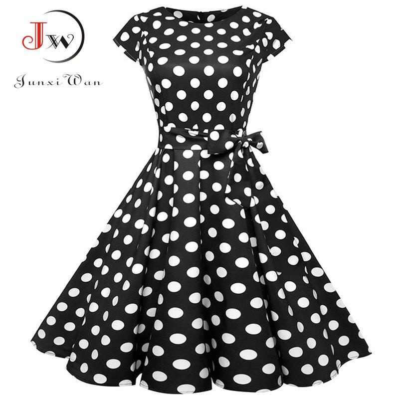 Vestido Vintage negro blanco de lunares de verano para mujer, vestido Retro de manga corta con estampado Floral, vestidos Rockabilly, vestidos de fiesta, Jurkjes