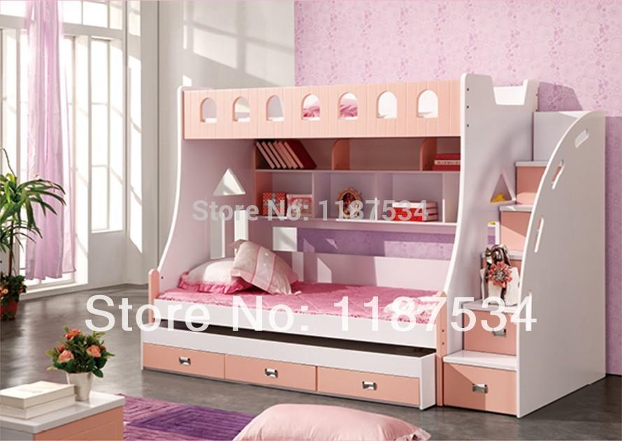 سرير بطابقين للأطفال ، سرير 3 في 1 مع تخزين وردي جميل ، 859 متر ، رقم 1.5