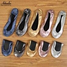Aohaolee na party schoenen mode vrouwen schoenen flats draagbare fold up bridal prom ballerina platte schoenen roll up opvouwbare balletten