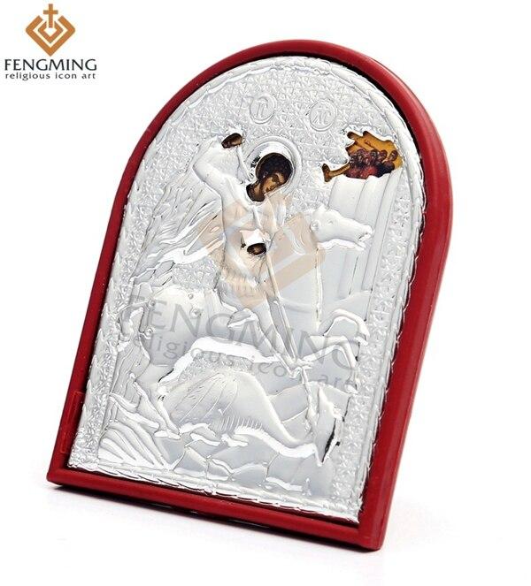 3 pièces/ensemble taille différente argent Saint George sur cadre en plastique de Rare orthodoxe catholique icône religieuse de baptême cadeaux artisanat
