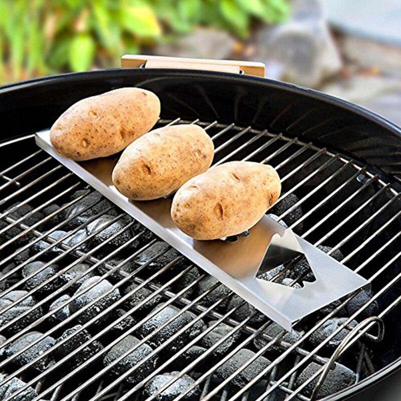 1 pieza de acero inoxidable 15,5 pulgadas, herramienta de parrilla para barbacoa, accesorio para barbacoa, parrilla para patatas, parrilla, parrilla para barbacoa al aire libre, bastidor para patatas