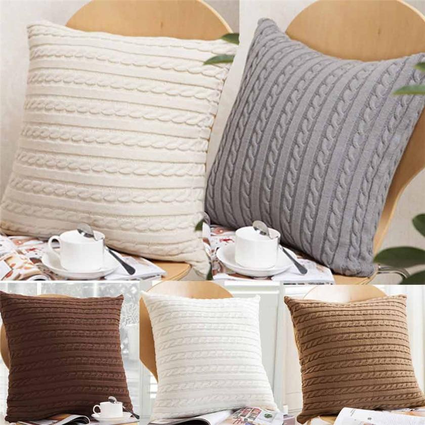 Fundas de almohada cuadradas de moda 2019, cómodas, tejidas, con textura súper fuerte de tela de lana #30