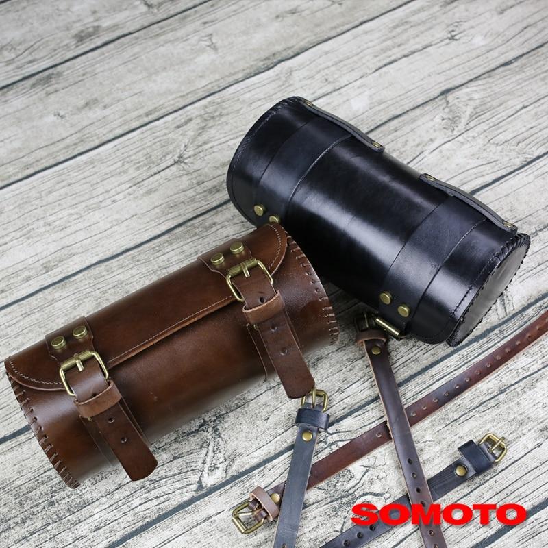 Universal Vintage Motorcycle front Leather Bag side bag Tube Headbag Tool kit leather bag classic bike leather bag