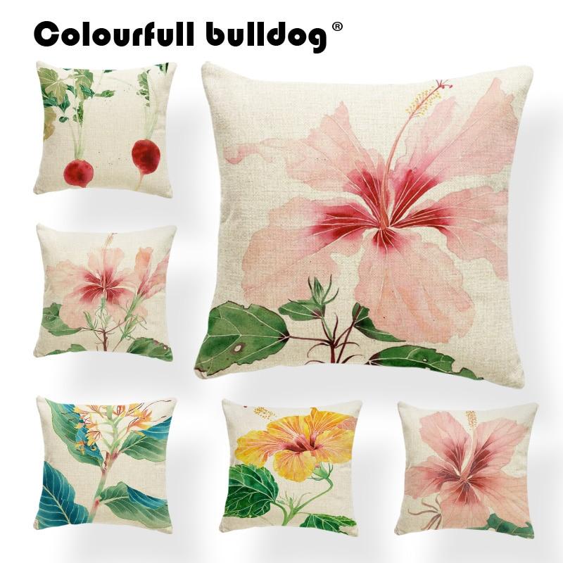 Cojín de plantas, fundas de flores con flores, alfombra gótica para siesta familiar, cojín de hojas rosa, almohada de madreselva, 17X17, hogar creativo de arpillera