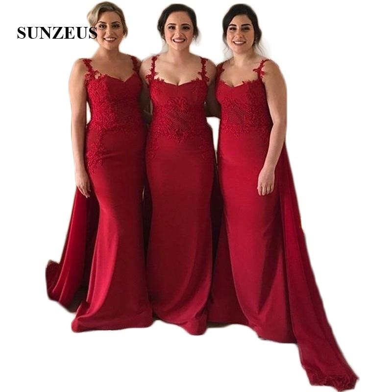 Vestidos de dama de honor de satén rojo con volantes de gasa...