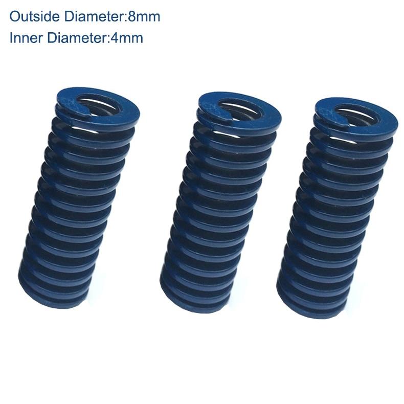 TL 8mm OD 4mm ID 70mm 75mm 90mm 100mm longitud azul carga ligera 65Mn Metal acero espiral estampado compresión molde muelle de troquel