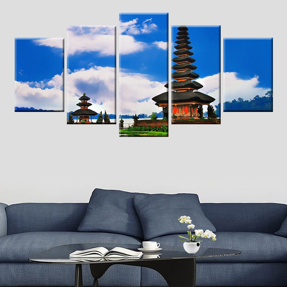 Pintura de lienzo de cartel de paisaje de Bali con arquitectura de ruinas antiguas 5 paneles de impresión HD para sala de estar dormitorio mural