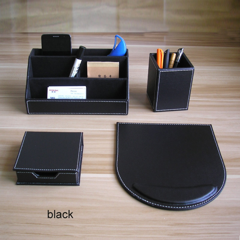 Organizador de madera de cuero de puerco, útil, para escritorio de oficina,...